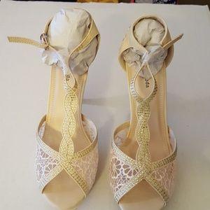 Top Moda Lace & Crystal Bead Heels